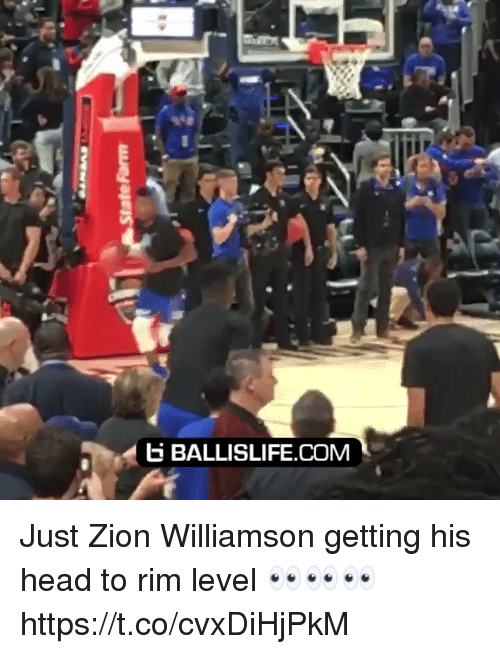 Head, Memes, and 🤖: BALLISLIFE.COM Just Zion Williamson getting his head to rim level 👀👀👀 https://t.co/cvxDiHjPkM