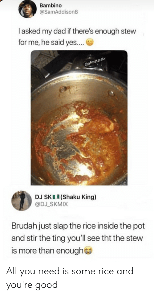 Blackpeopletwitter, Dad, and Funny: Bambino  @SamAddison8  I asked my dad if there's enough stew  for me, he said yes...  @afrostarstv  DJ SKII(Shaku King)  @DJ_SKMIX  Brudah just slap the rice inside the pot  and stir the ting you'll see tht the stew  more than enough All you need is some rice and you're good