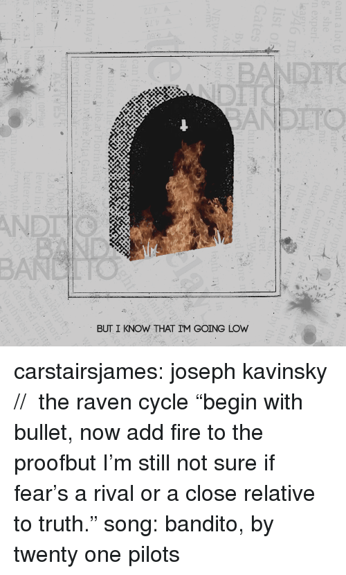 "Fire, Target, and Tumblr: BANDTTO  AND  BUT I KNOW THAT IM GOING LOW carstairsjames: joseph kavinsky //  the raven cycle ""begin with bullet, now add fire to the proofbut I'm still not sure if fear's a rival or a close relative to truth."" song: bandito, by twenty one pilots"