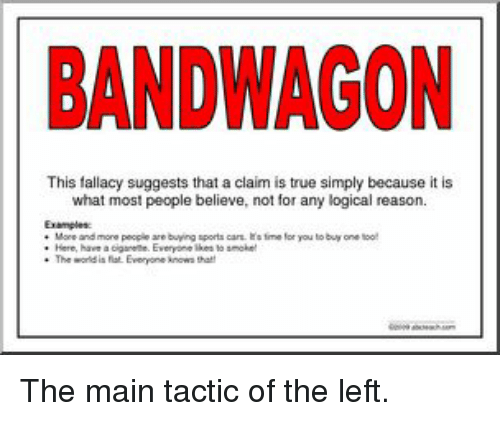 Bandwagon This Fallacy Suggests That A Claim Is True Simply Because