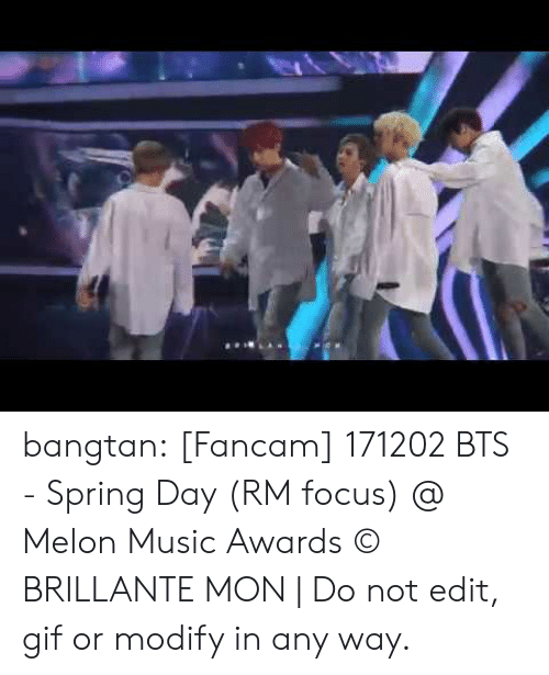 Gif, Music, and Tumblr: bangtan:    [Fancam] 171202 BTS - Spring Day (RM focus) @ Melon Music Awards ©   BRILLANTE MON   | Do not edit, gif or modify in any way.