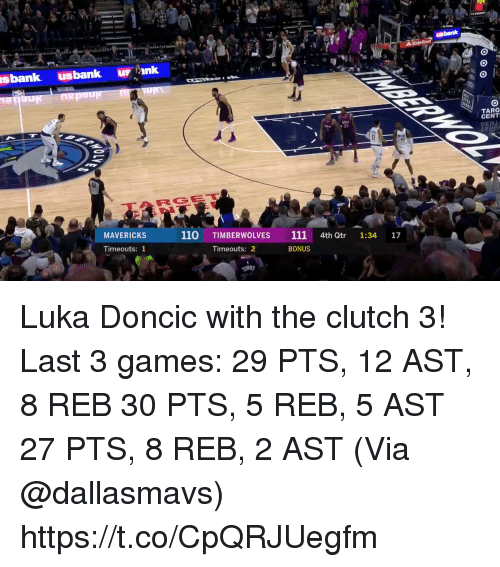 Andrew Bogut, Memes, and Bank: bank  sbank usbank u ank  TARG  CENT  RG  MAVERICKS  110 TIMBERWOLVES 111 4th Qtr 1:34 17  Timeouts: 1  Timeouts: 2  BONUS Luka Doncic with the clutch 3!   Last 3 games: 29 PTS, 12 AST, 8 REB 30 PTS, 5 REB, 5 AST 27 PTS, 8 REB, 2 AST  (Via @dallasmavs)  https://t.co/CpQRJUegfm