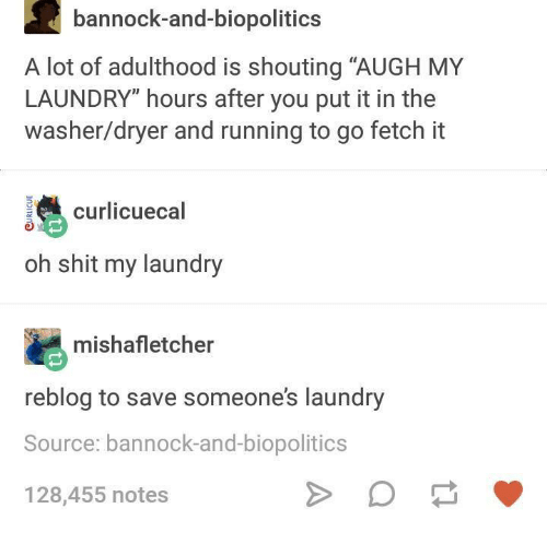 """Laundry, Humans of Tumblr, and Running: bannock-and-biopolitics  A lot of adulthood is shouting """"AUGH MY  LAUNDRY"""" hours after you put it in the  washer/dryer and running to go fetch it  curlcuecal  oh shit my laundry  mishafletcher  reblog to save someones laundry  Source: bannock-and-biopolitics  128,455 notes"""