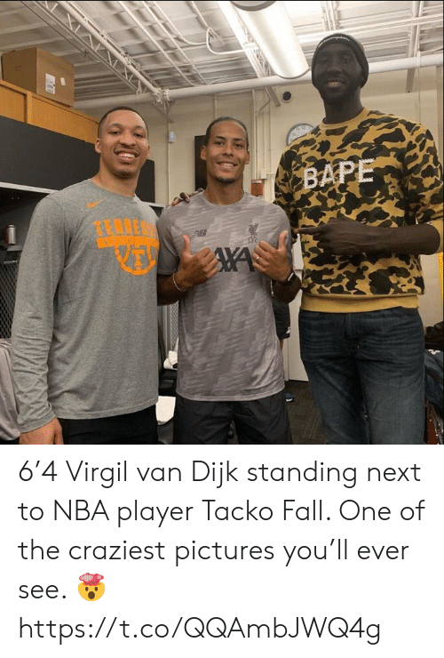 Fall, Nba, and Soccer: BAPE 6'4 Virgil van Dijk standing next to NBA player Tacko Fall. One of the craziest pictures you'll ever see. 🤯 https://t.co/QQAmbJWQ4g