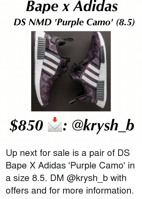 Bape X Adidas DS NAMD Purple Camo  85  850 B Up Next for Sale Is a ... 28c76e549ecc9