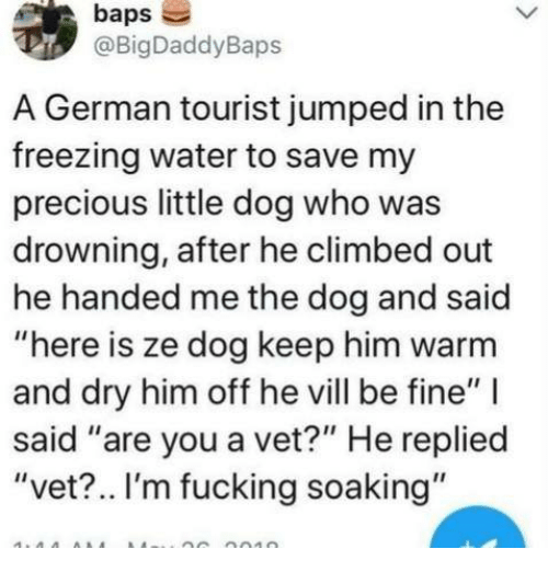 """Dank, Fucking, and Precious: baps  @BigDaddyBaps  A German tourist jumped in the  freezing water to save my  precious little dog who was  drowning, after he climbed out  he handed me the dog and said  """"here is ze dog keep him warm  and dry him off he vill be fine""""  said """"are you a vet?"""" He replied  """"vet?.. I'm fucking soaking"""""""