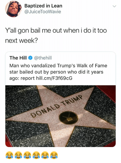 Lean, Star, and Girl Memes: Baptized in Lean  @JuiceTooWavie  Yall gon bail me out when i do it too  next week?  The Hill @thehill  Man who vandalized Trump's Walk of Fame  star bailed out by person who did it years  ago: report hill.cm/F3f69cG 😂😂😂😂😂😂
