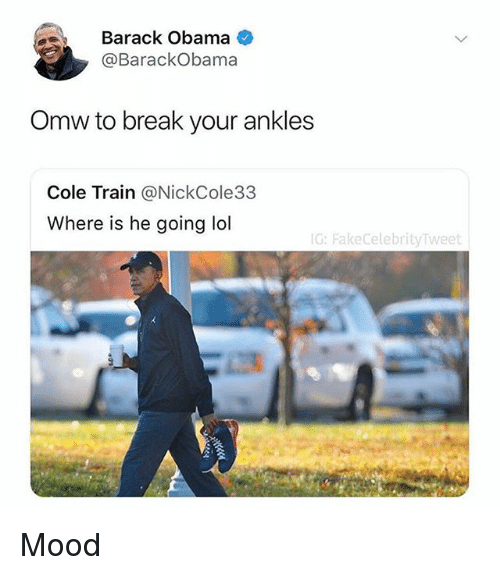 Mood, Nba, and Obama: Barack Obama  @BarackObama  Omw to break your ankles  Cole Train @NickCole33  Where is he going ldl  G: FakeCelebrityTweet Mood