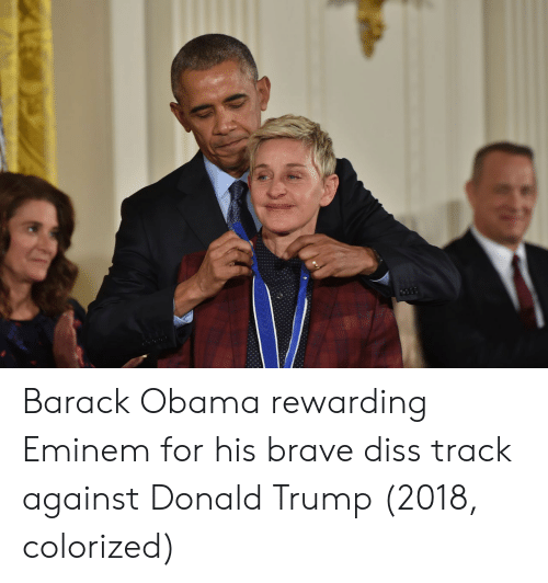 Diss, Donald Trump, and Eminem: Barack Obama rewarding Eminem for his brave diss track against Donald Trump (2018, colorized)