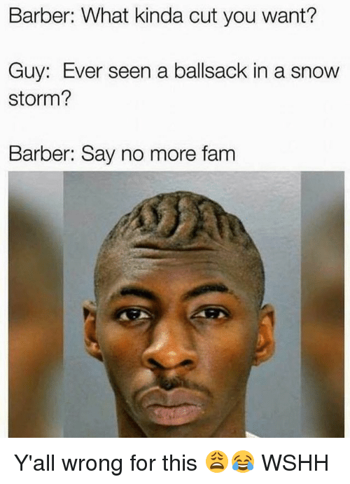 barber what kinda cut you want guy ever seen a 25710510 barber what kinda cut you want? guy ever seen a ballsack in a snow,Barber Memes