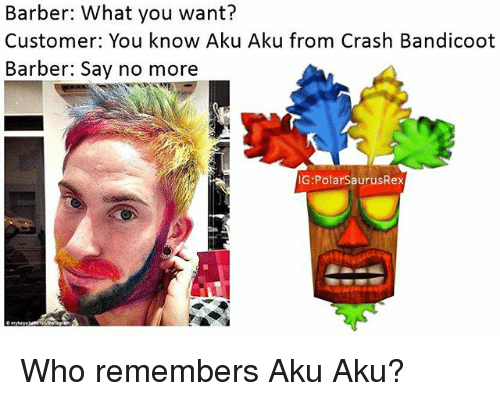 Barber, Crash Bandicoot, and Memes: Barber: What you want?  Customer: You know Aku Aku from Crash Bandicoot  Barber: Say no more  G:PolarSaurusRex Who remembers Aku Aku?