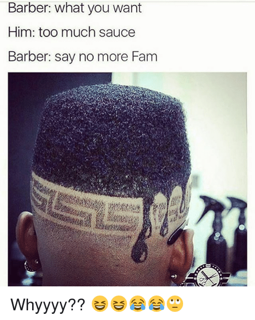 Barber, Fam, and Memes: Barber: what you want  Him: too much sauce  Barber: say no more Fam Whyyyy?? 😆😆😂😂🙄