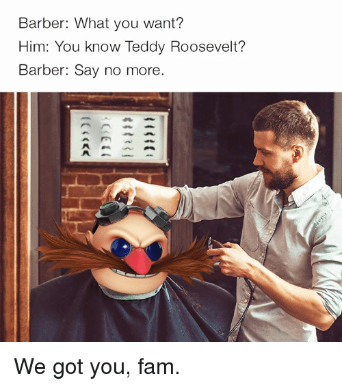 Barber, Dank, and Fam: Barber: What you want?  Him: You know Teddy Roosevelt?  Barber: Say no more. We got you, fam.