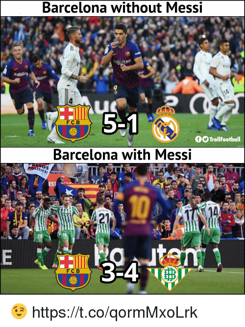 Barcelona, Memes, and Messi: Barcelona without Messi  akuten  51  FCB  fOTrollFootball  Barcelona with Messi  EST  FCB 😉 https://t.co/qormMxoLrk