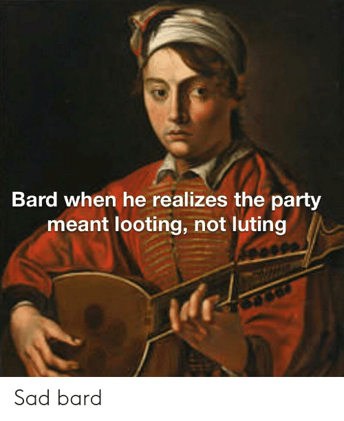 Bard When He Realizes the Party Meant Looting Not Luting Sad Bard