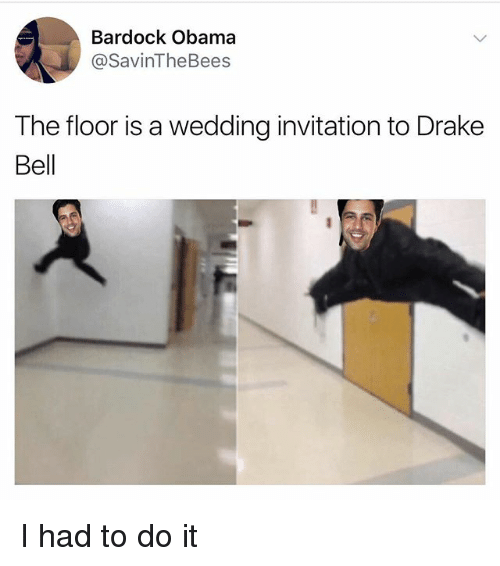 Drake, Drake Bell, and Funny: Bardock Obama  asavinThe Bees  The floor is a wedding invitation to Drake  Bell I had to do it