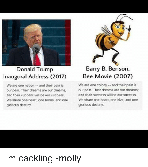 Bee Movie, Destiny, and Memes: Barry B. Benson,  Donald Trump  Inaugural Address (2017)  Bee Movie (2007)  We are one colony and their pain is  We are one nation and their pain is  our pain. Their dreams are our dreams;  our pain. Their dreams are our dreams;  and their success wil be our success.  and their success will be our success.  We share one heart, one home, and one  We share one heart, one hive, and one  glorious destiny.  glorious destiny. im cackling -molly