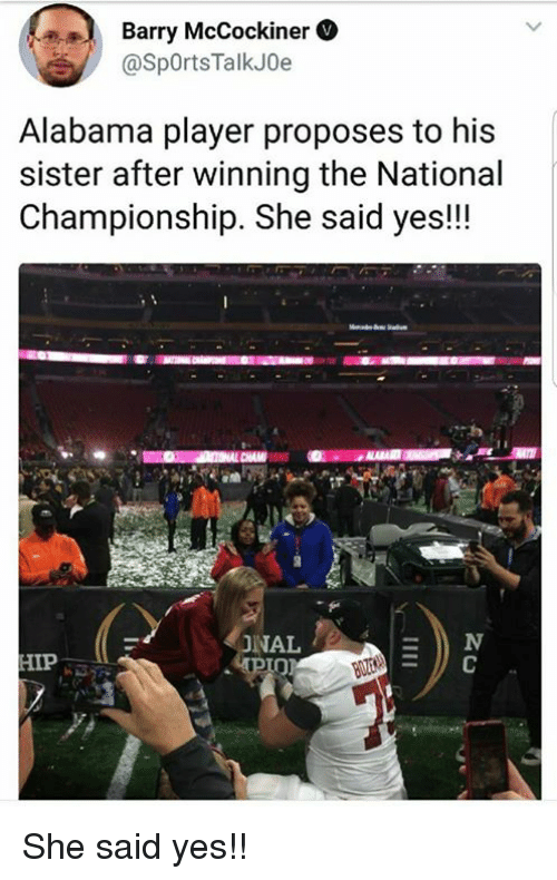 barry mccockiner alabama player proposes to his sister after winning