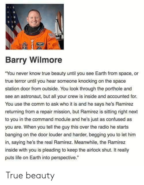 "Confused, Life, and Radio: Barry Wilmore  You never know true beauty until you see Earth from space, or  true terror until you hear someone knocking on the space  station door from outside. You look through the porthole and  see an astronaut, but all your crew is inside and accounted for  You use the comm to ask who it is and he says he's Ramirez  returning from a repair mission, but Ramirez is sitting right next  to you in the command module and he's just as confused as  you are. When you tell the guy this over the radio he starts  banging on the door louder and harder, begging you to let hinm  in, saying he's the real Ramirez. Meanwhile, the Ramirez  inside with you is pleading to keep the airlock shut. It really  puts life on Earth into perspective."" True beauty"