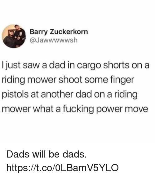 Dad, Funny, and Saw: Barry Zuckerkorn  @Jawwwwwsh  I just saw a dad in cargo shorts on a  ridling mower shoot some finger  pistols at another dad on a riding  mower what a fucking power move Dads will be dads. https://t.co/0LBamV5YLO
