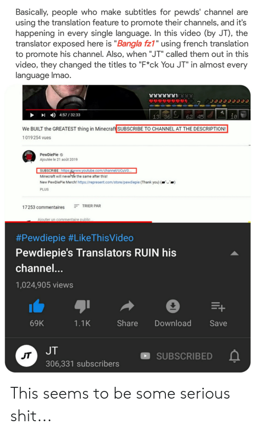 Basically People Who Make Subtitles for Pewds' Channel Are
