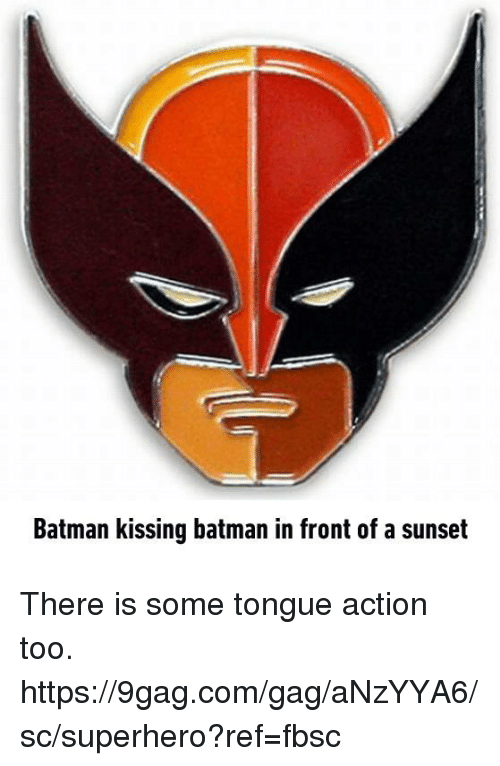 9gag, Batman, and Dank: Batman kissing batman in front of a sunset There is some tongue action too. https://9gag.com/gag/aNzYYA6/sc/superhero?ref=fbsc