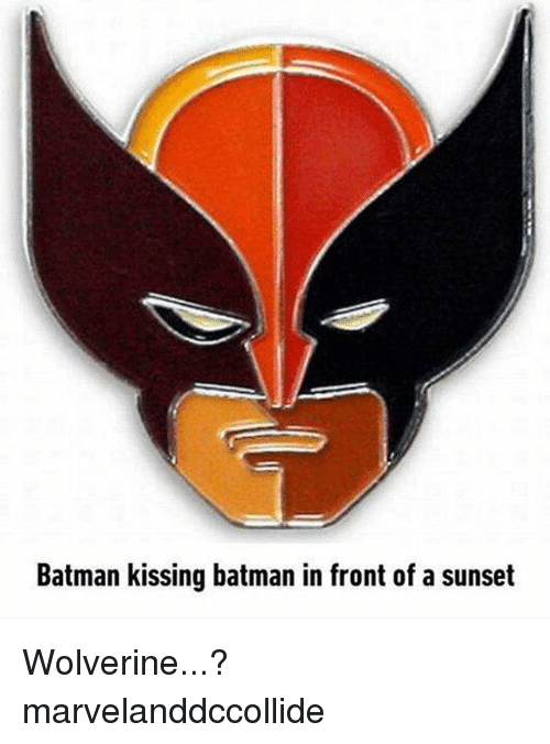 Batman, Wolverine, and Sunset: Batman kissing batman in front of a sunset Wolverine...? marvelanddccollide