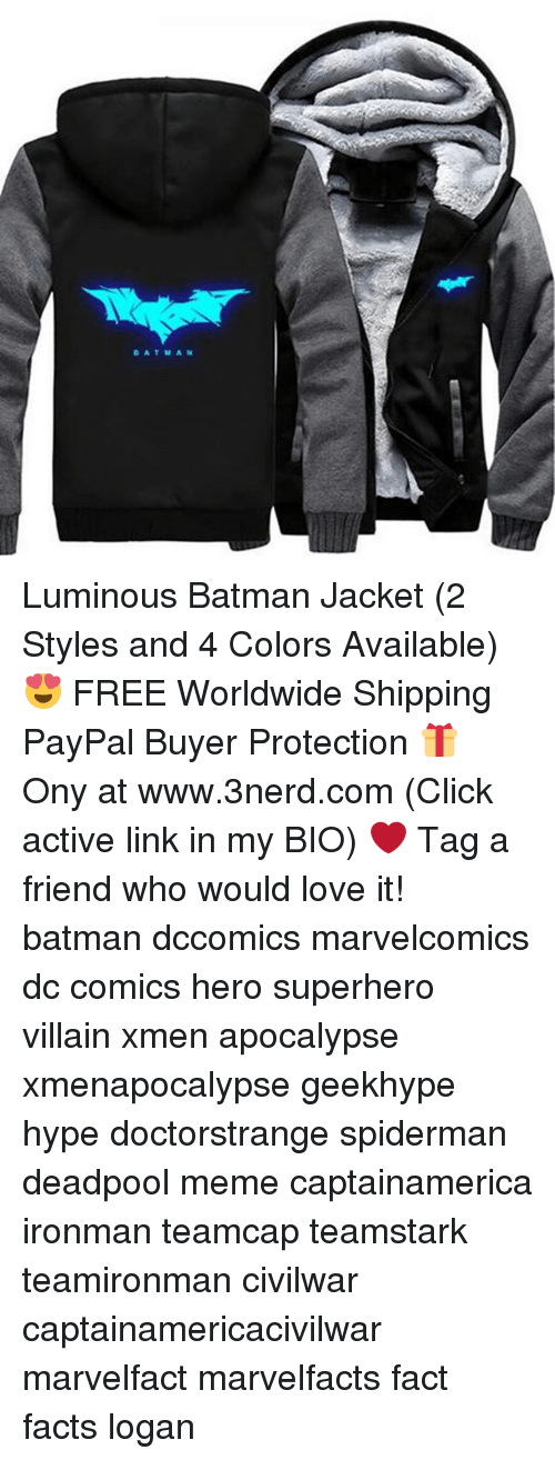 Batman, Click, and Facts: BATMAN Luminous Batman Jacket (2 Styles and 4 Colors Available) 😍 FREE Worldwide Shipping PayPal Buyer Protection 🎁 Ony at www.3nerd.com (Click active link in my BIO) ❤ Tag a friend who would love it! batman dccomics marvelcomics dc comics hero superhero villain xmen apocalypse xmenapocalypse geekhype hype doctorstrange spiderman deadpool meme captainamerica ironman teamcap teamstark teamironman civilwar captainamericacivilwar marvelfact marvelfacts fact facts logan