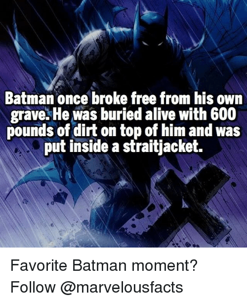 Batman, Memes, and 🤖: Batman once broke free from his own  grave. He was buried alive with 600  pounds of dirt on top of him and was  put inside a straitjacket. Favorite Batman moment? Follow @marvelousfacts
