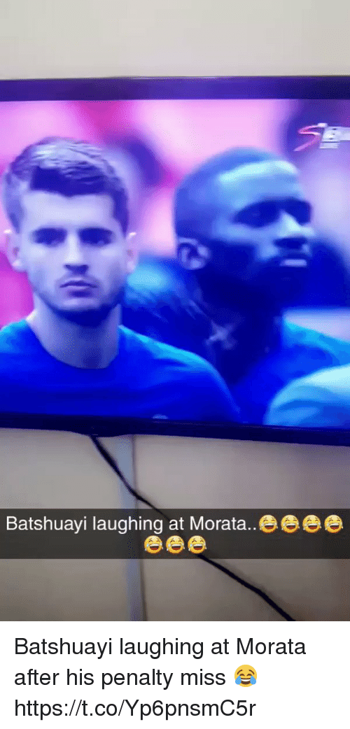 Soccer, Miss, and Laughing: Batshuayi laughing at Morata..eeee Batshuayi laughing at Morata after his penalty miss 😂 https://t.co/Yp6pnsmC5r