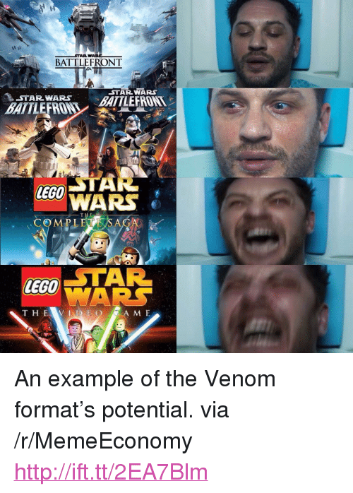 """Lego, Star Wars, and Http: BATTLEFRONT  STAR WARS  STAR WARS BATLEFRON  BATTLEFROW  lEGO  COMPL ECE SAGA  STAR  LEGO  A M E <p>An example of the Venom format's potential. via /r/MemeEconomy <a href=""""http://ift.tt/2EA7Blm"""">http://ift.tt/2EA7Blm</a></p>"""