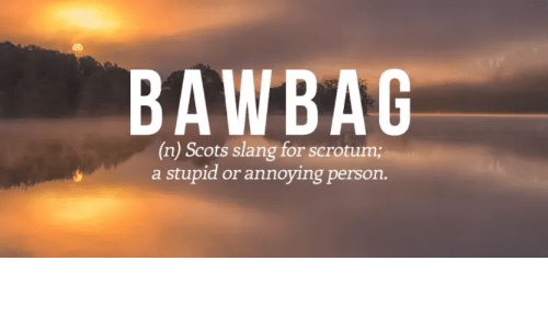 BAWBAG N Scots Slang for Scrotum a Stupid or Annoying Person
