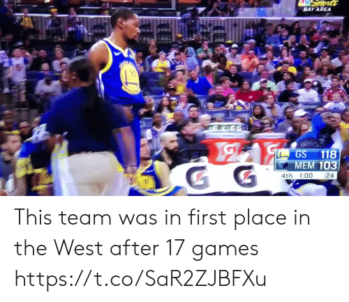 me.me: BAY AREA  35  GS 118  MEM 103  4th 1:00 24 This team was in first place in the West after 17 games https://t.co/SaR2ZJBFXu