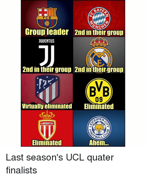 Memes, 🤖, and Ucl: BAYE  FCB  Group leader  JUUENTUS  2nd in their group  2nd in their group 2nd in their group  BB  09  Virtually eliminated Eliminated  STER  ASMONACOFC  ALL  Eliminated  Ahem... Last season's UCL quater finalists