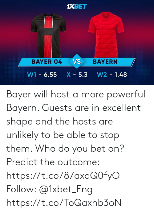 Memes, Powerful, and Bayern: Bayer will host a more powerful Bayern. Guests are in excellent shape and the hosts are unlikely to be able to stop them. Who do you bet on?  Predict the outcome: https://t.co/87axaQ0fyO Follow: @1xbet_Eng https://t.co/ToQaxhb3oN