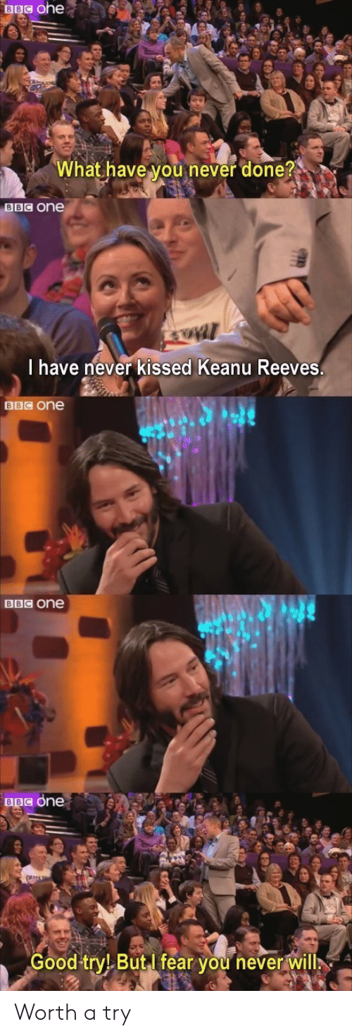 Good, Fear, and Never: BBC ohe  What have you never done?  BBC One  I have never kissed Keanu Reeves.  BBC One  BBC one  BBC one  Good try! ButI fear you never will Worth a try
