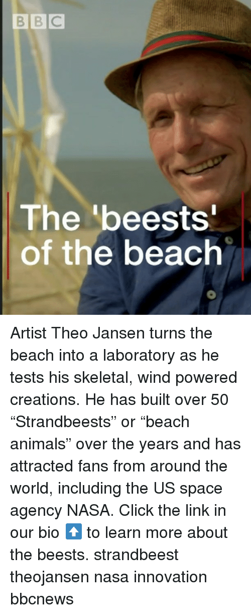 """Animals, Click, and Memes: BBC  The 'beests  of the beach Artist Theo Jansen turns the beach into a laboratory as he tests his skeletal, wind powered creations. He has built over 50 """"Strandbeests"""" or """"beach animals"""" over the years and has attracted fans from around the world, including the US space agency NASA. Click the link in our bio ⬆️ to learn more about the beests. strandbeest theojansen nasa innovation bbcnews"""