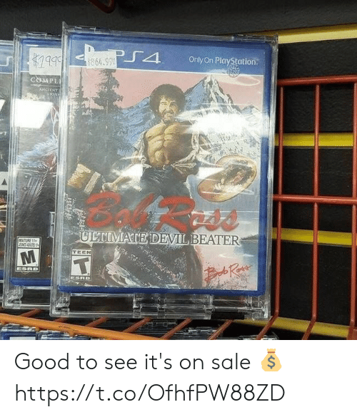 PlayStation, Video Games, and Devil: bbl  1999  Only On PlayStation  864.99  COMPL  ANCIENT  LIONE  ULTIMATE DEVIL BEATER  MATURE 17  ENSTS  TEEN  T  ESRB  Ra  ESRO  A Good to see it's on sale 💰 https://t.co/OfhfPW88ZD