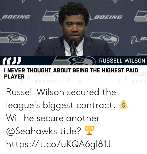 Memes, Russell Wilson, and Seahawks: BDEING  BDENG  RUSSELL WILSON  I NEVER THOUGHT ABOUT BEING THE HIGHEST PAID  PLAYER Russell Wilson secured the league's biggest contract. 💰  Will he secure another @Seahawks title? 🏆 https://t.co/uKQA6gl81J