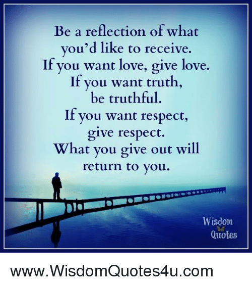 Be A Reflection Of What Youd Like To Receive If You Want Love Give