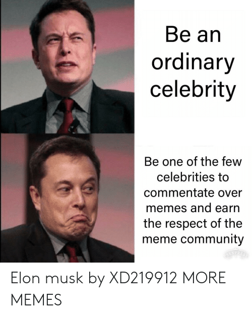 Community, Dank, and Meme: Be an  ordinary  celebrity  Be one of the few  celebrities to  commentate over  memes and earn  the respect of the  meme community Elon musk by XD219912 MORE MEMES
