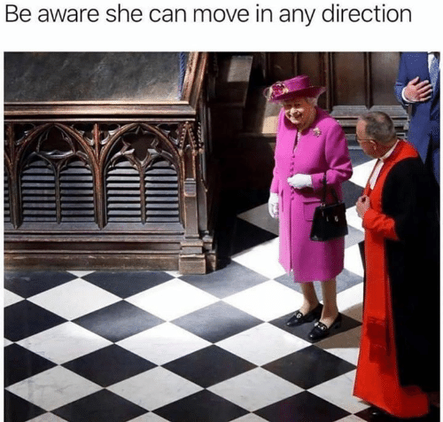 Memes, 🤖, and Can: Be aware she can move in any direction