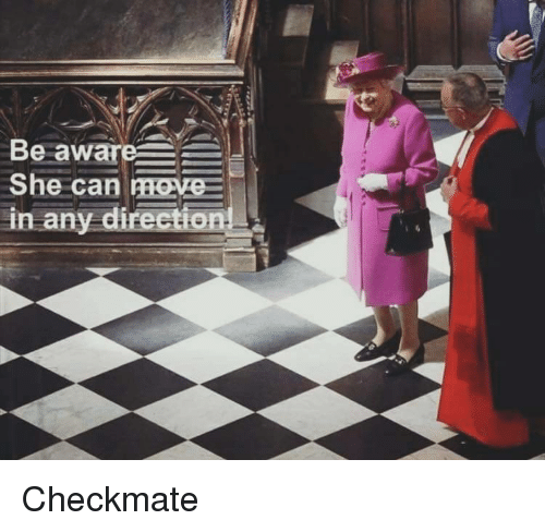 Can, She, and Checkmate: Be aware  She can reve-  in any direction! Checkmate