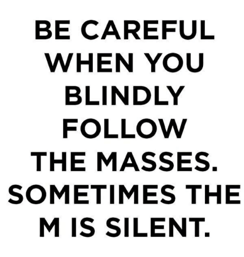 Be Careful When You Blindly Follow The Masses Sometimes The M Is