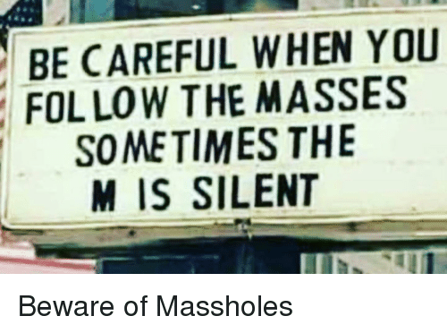 Be Careful When You Follow The Masses Sometimes The M Is Silent Im