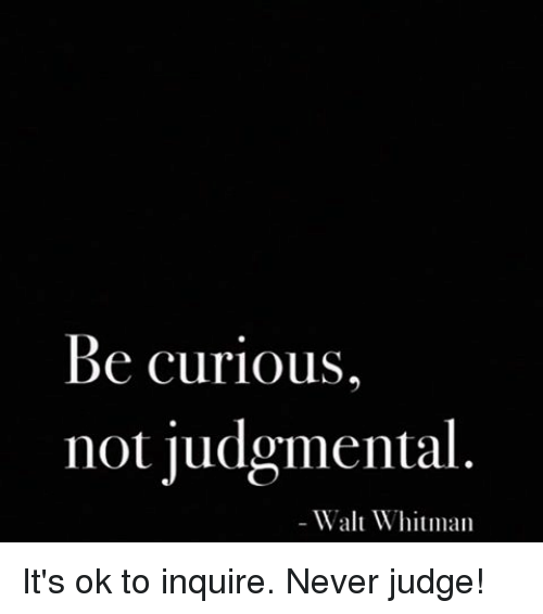 not to be judgemental