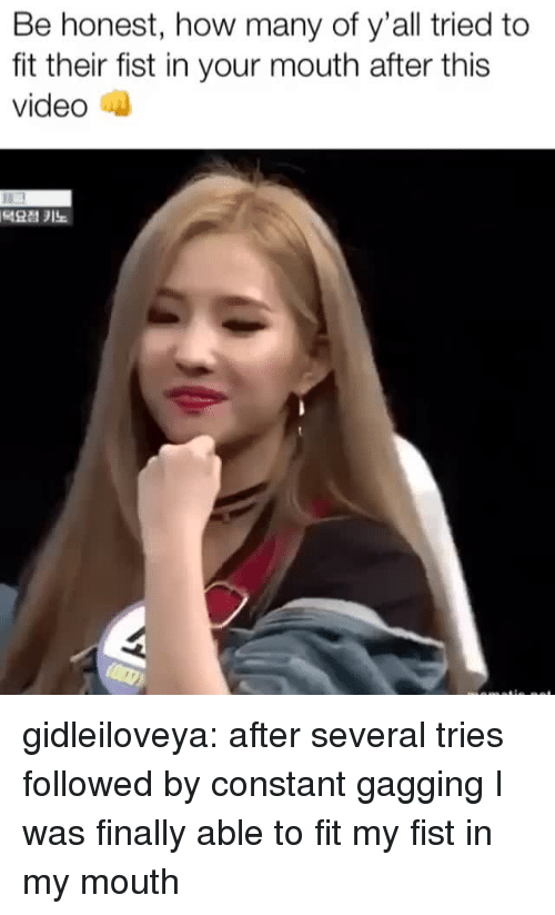 Tumblr, Blog, and Video: Be honest, how many of y'all tried to  fit their fist in your mouth after this  video n  덕요점 키노 gidleiloveya:   after several tries followed by constant gagging I was finally able to fit my fist in my mouth