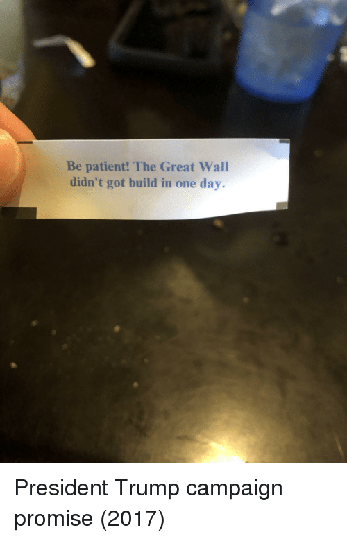 Patient, Trump, and Got: Be patient! The Great Wall  didn't got build in one day. President Trump campaign promise (2017)
