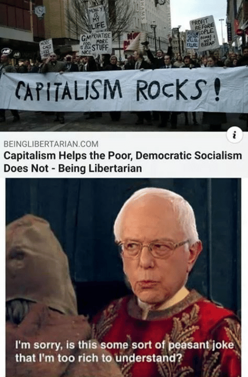 Memes, Sorry, and Capitalism: BE  PRNATISE  CAPITALISM ROCKS!  BEINGLIBERTARIAN COM  Capitalism Helps the Poor, Democratic Socialism  Does Not Being Libertarian  I'm sorry, is this some sort of peasant joke  that I'm too rich to understand?