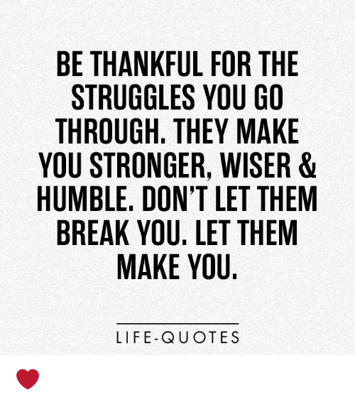 Be Thankful For The Struggles You Go Through They Make You Stronger
